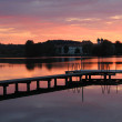 Benedictine cloister and lake seeon, wooden boardwalk, at sunset — Stock Photo #48713861
