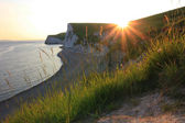 Evening sun at jurassic coast, south england — Stock Photo