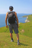 Coastal wanderer, south west coast path, dorset — Stock Photo