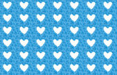 Blue flower background with white hearts — Stock Photo