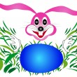 Royalty-Free Stock Vector Image: Easter bunny rabbit looking for eggs in the grass