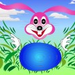 Stock Vector: Easter bunny rabbit looking for eggs in grass