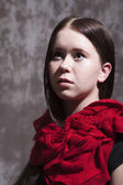 Girl with red scarf — Stock Photo