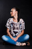 Long-haired woman in shirt with tiger — Stock Photo