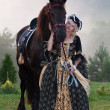 Stock Photo: Womin dress royal baroque riding
