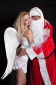 ángel de hombre y mujer de santa claus — Foto de Stock