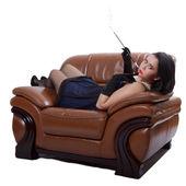 Retro woman on chair — Stock Photo