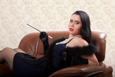 Retro woman on chair — 图库照片