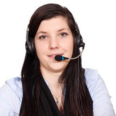 Jovem mulher com fone de ouvido — Foto Stock
