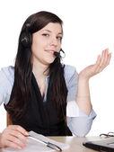 Młoda kobieta z zestawu słuchawkowego — Zdjęcie stockowe
