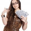 Teen girl holds money in a fan-shape — Stock Photo