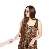 Teen girl and bribe — Stock Photo