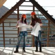 Two young women workers on the roof — Stock Photo #42722137