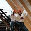 Two young women workers on the roof — Stock Photo #42722249