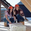 Two young women workers on the roof — Stock Photo