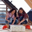 Two young women workers on the roof — Stock Photo #42723223