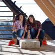Two young women workers on the roof — Stock Photo #42723535