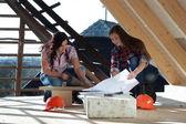 Zwei junge frau, die das dach des hauses zu reparieren — Stockfoto