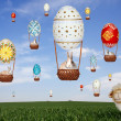 Sheep, balloons, rabbits and sky — Stock Photo #43165259