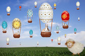 Sheep, balloons, rabbits and sky — Foto de Stock