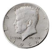 Silver Kennedy Half Dollar - Heads Frontal — Stock Photo