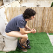 Using Rooftop Lavatory — Stock Photo