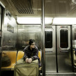 Woman with Suitcase in New-York Subway — Stock Photo