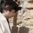 Jewish Man Praying at the Western Wall - Stock Photo