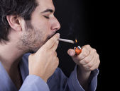 Adult Bum Lighting a Spliff — Stock Photo
