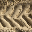 Tire Tracks in the Sand - Frontal Close Up — Stock Photo