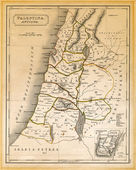 Ancient Palestine Map Printed 1845 — Stock Photo