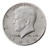 Silver Kennedy Half Dollar - Heads Frontal — Stock Photo