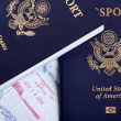Stock Photo: AmericPassports and Immigration Stamps Background