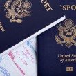 American Passports and Immigration Stamps Background — Stock Photo