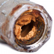 Broken and Rust Blocked Pipe — Stock Photo #22409813