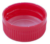 分離の赤いプラスチック製のキャップ — ストック写真