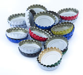 A stack of metal bottle caps — Stock Photo