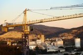 Rural Cranes and Factories — Stock Photo