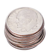 Isolated US Dime Stack — Stock Photo