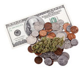 Marijuana, Change and Cash — Stock Photo