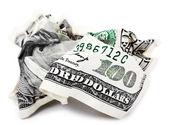 孤立轧花的现金 — 图库照片