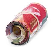 Roll of 200 Israeli New Shekels Bills — Stock Photo