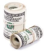 Duas 100 nós dólar rolos — Fotografia Stock