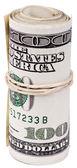 Roll of 100 US dollar Bills — Stock Photo