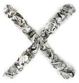 Letter X Multiplication Mark - Crimped 100 us dollar Bills — Stock Photo