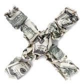 Multiplication X - Crimped 100 us dollar Bills — Stock Photo