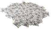 Isolated One Hundred Dollar Bills Background - Mess — Stock Photo