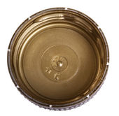 Geïsoleerde gouden plastic dop — Stockfoto