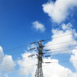 Electricity Pylon and Cloudy Sky — Zdjęcie stockowe