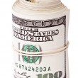 Roll of 100 US dollar  Bills — Stock Photo